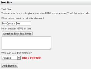 Custom Text Box Profile Application